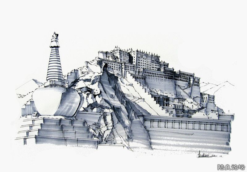 手绘系列 钢笔打底马克笔上色《布达拉宫》